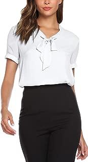 Women's Office Shirts Bow Tie V Neck Long/Short Sleeve Layered Chiffon Blouse Tops S-XXL…