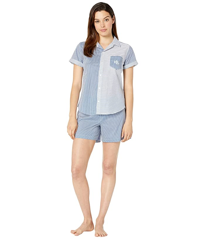 LAUREN Ralph Lauren Short Sleeve Camp Shirt Boxer Pajama Set (Blue Stripe) Women