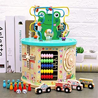 FORYULIK Colorful All-Round Toy, US Fast Shipment Large 7-in-1 Handmade Activity Cube Wooden Toys with Storage Box Educational Toys for 2 + Year Old