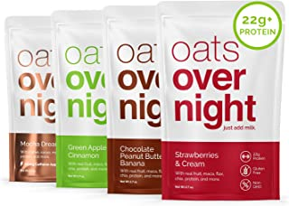 Oats Overnight Oatmeal - 8 Pack x 2.7oz, 22g Protein - Variety Pack - 100% Whole Grain, Rolled Oats, Whey Protein, High Fiber, Low Sugar, Gluten-Free, Non-GMO