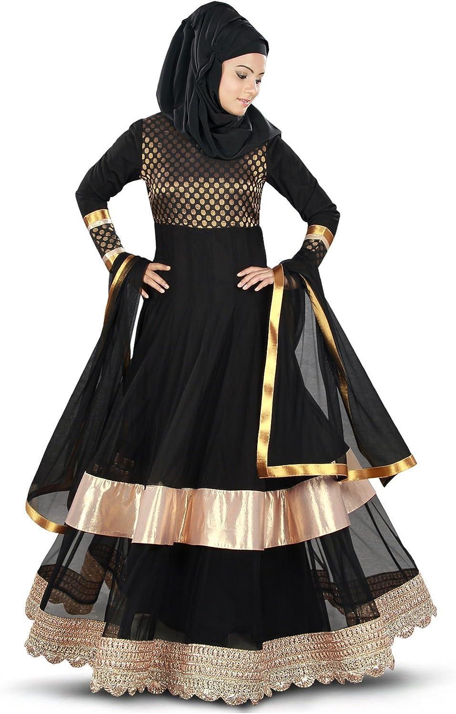 MyBatua Black Muslim Anarkali Occasions & Eid Wear Women's Burqa Abaya AY351