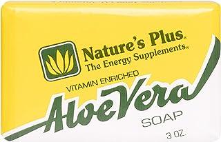 NaturesPlus Aloe Vera Soap - 3 oz Bar - 100% Natural, With Vitamin A, Vitamin D, Vitamin E & Glycerin - AloeVera Gel Base ...