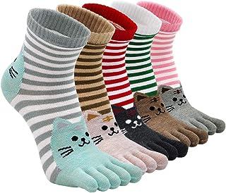 ZAKASA Calcetines de Algodón Mujer Lindos Calcetines de Animales Lindos calcetines térmicos Adulto para Invierno Cinco ded...