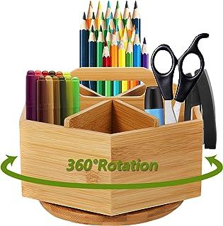 Marbrasse Bamboo Desk Organizer, 360-Degree Rotating Pen Holder with 6 Compartments for Art Supply, Desktop Stationary Org...