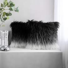Phantoscope Pack of 2 Luxury Series Throw Pillow Covers Faux Fur Mongolian Style Plush Cushion Case for Couch Bed and Chair, Black and White 20 x 20 inches 50 x 50 cm