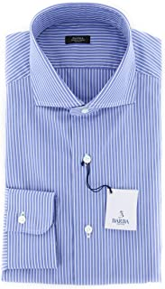 Barba Napoli Patterned Button Down Cutaway Collar Cotton Slim Fit Dress Shirt