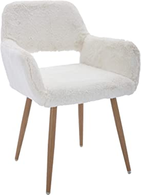 Goujxcy Elegant Faux Fur Home Office Chair, Modern Fluffy Make Up Vanity Chair Desk Chair for Girls Women, Comfy Furry Desk C