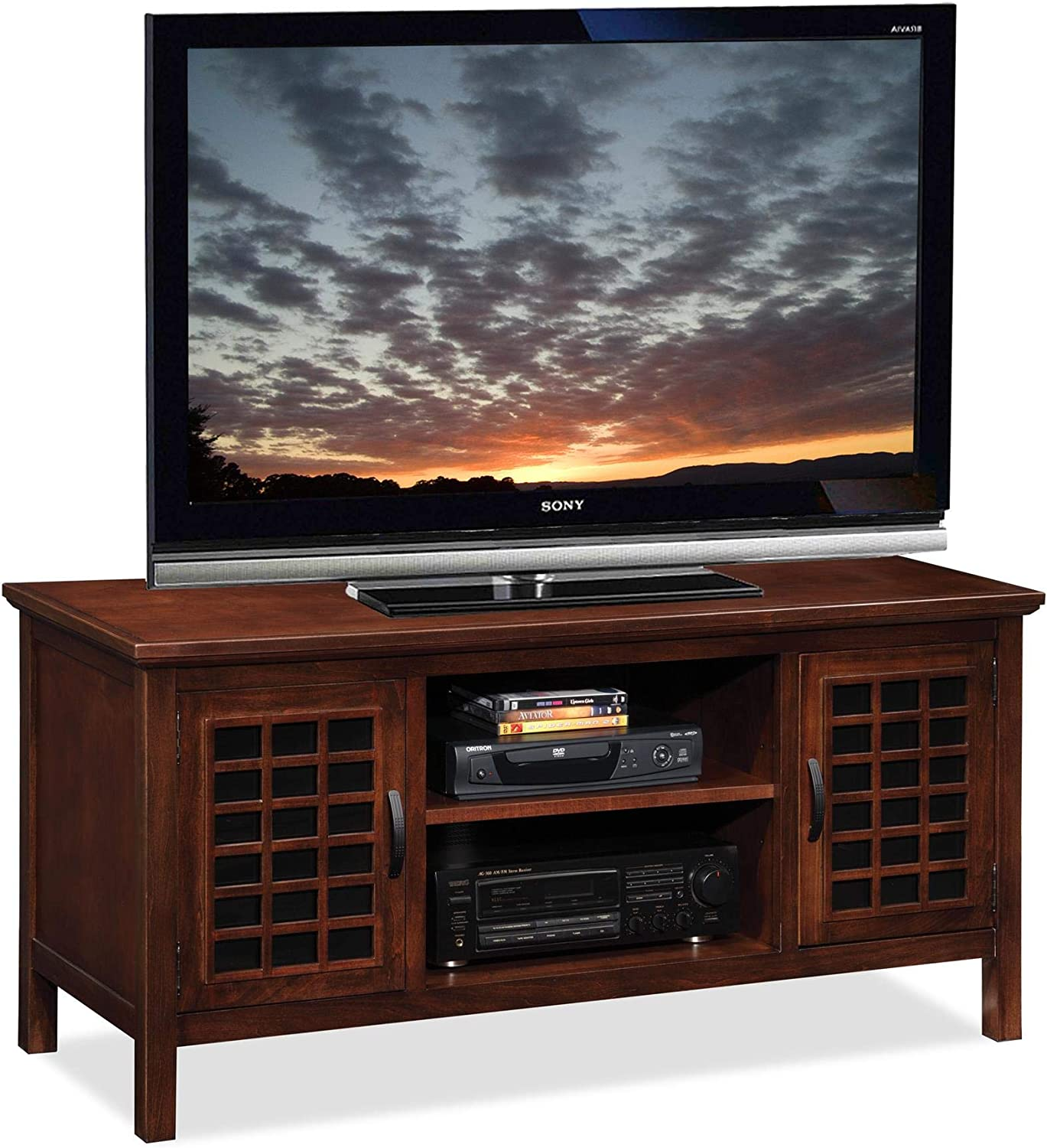 Leick 50-Inch Wide TV Stand Wholesale Chocolate Black Cherry safety Glass with