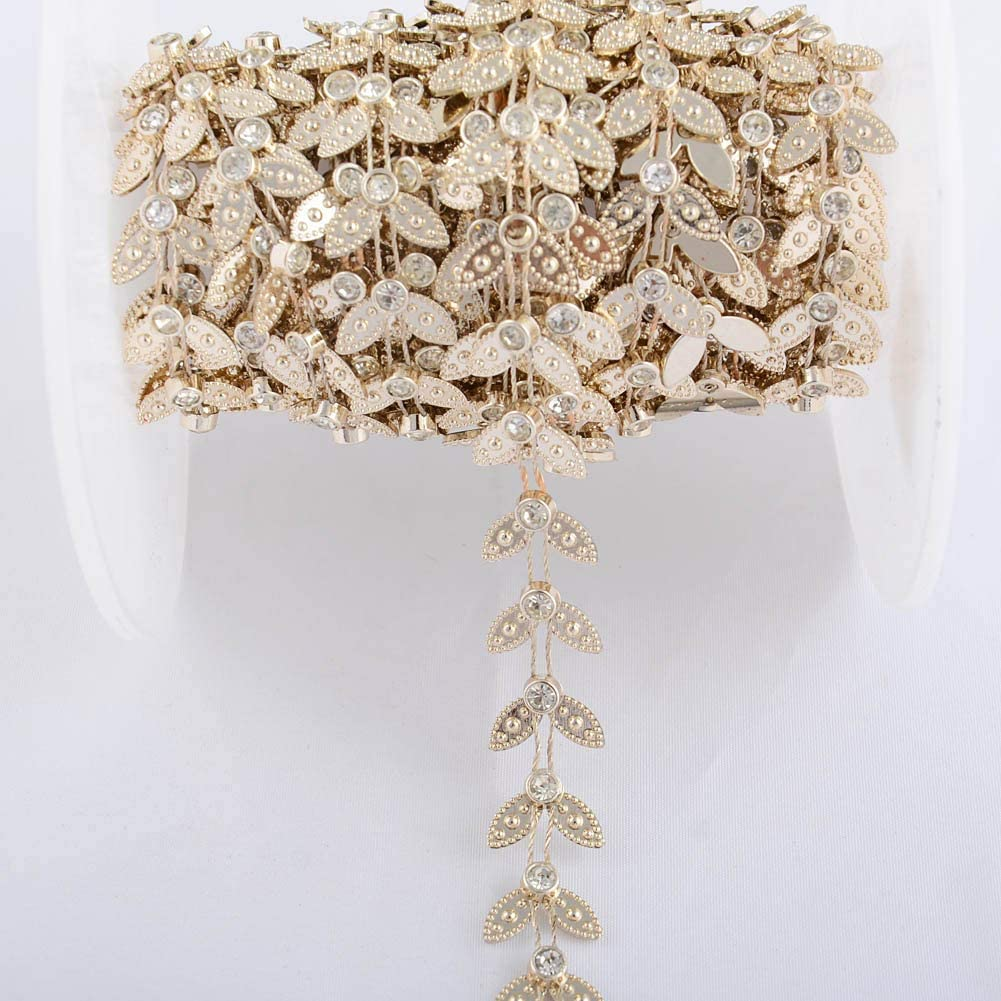 18mm leaf Shaped ivory Pearl Rhinestone Chain Trims flatback price for 1 yard