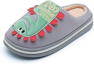 CELANDA Kids Boys Girls Winter Plush Slippers Warm Comfort Indoor Shoes Cute Cartoon Dinosaur Slippers Anti-Slip Cotton Sh...