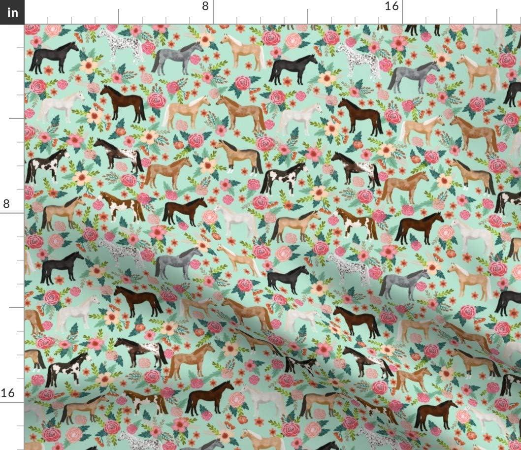 Spoonflower Fabric 流行のアイテム オリジナル - Horse Multi Farm Animal Horses Floral Mint