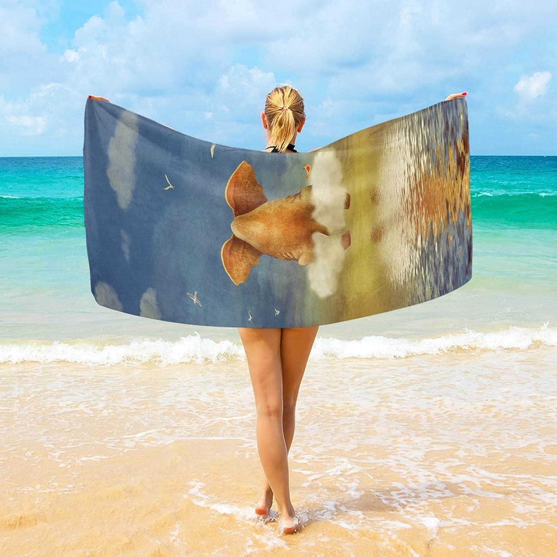 AHOMY Super-cheap Microfiber Beach Towel Sad Elephant Sky On Popular product B Sitting Cloud