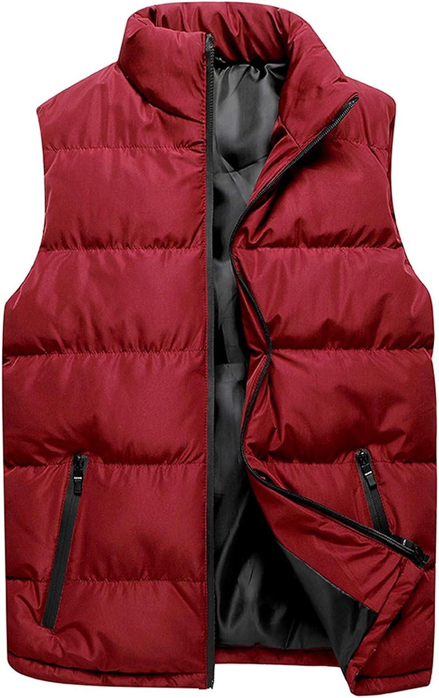 Men's Outdoor Stand Collar Fleece Jacket Vest Casual Padded Vest Coats Winter Warm Zipper Sleeveless Waistcoat Outwear
