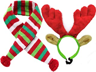 Malier Christmas Holiday Elk Reindeer Antlers with Ears and Red-White-Green Striped Scarf