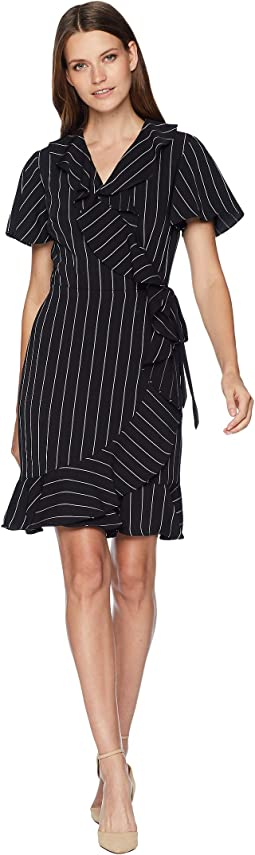 Short Sleeve Stripe Smooth Crepe Wrap Dress