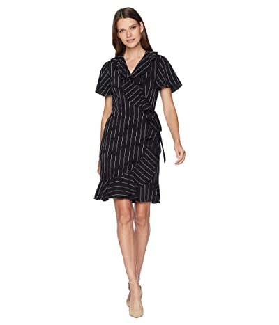 Tahari by ASL Short Sleeve Stripe Smooth Crepe Wrap Dress (Black/Ivory) Women