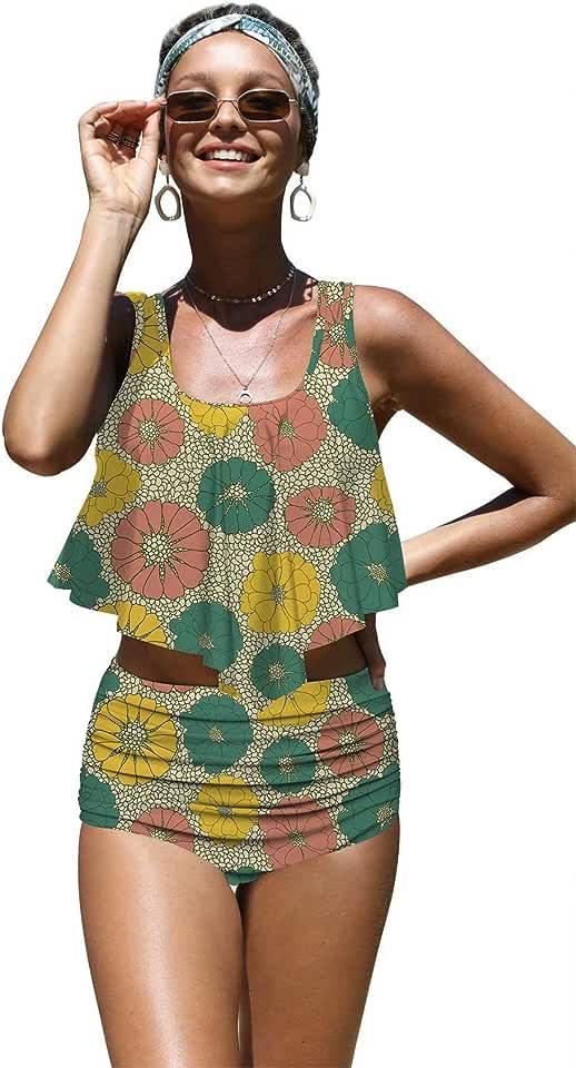 Angerella Womens Classic Beauty Sunflowers Seamless Pattern Flounce Bikinis Push up Swimsuits, 2XL-3