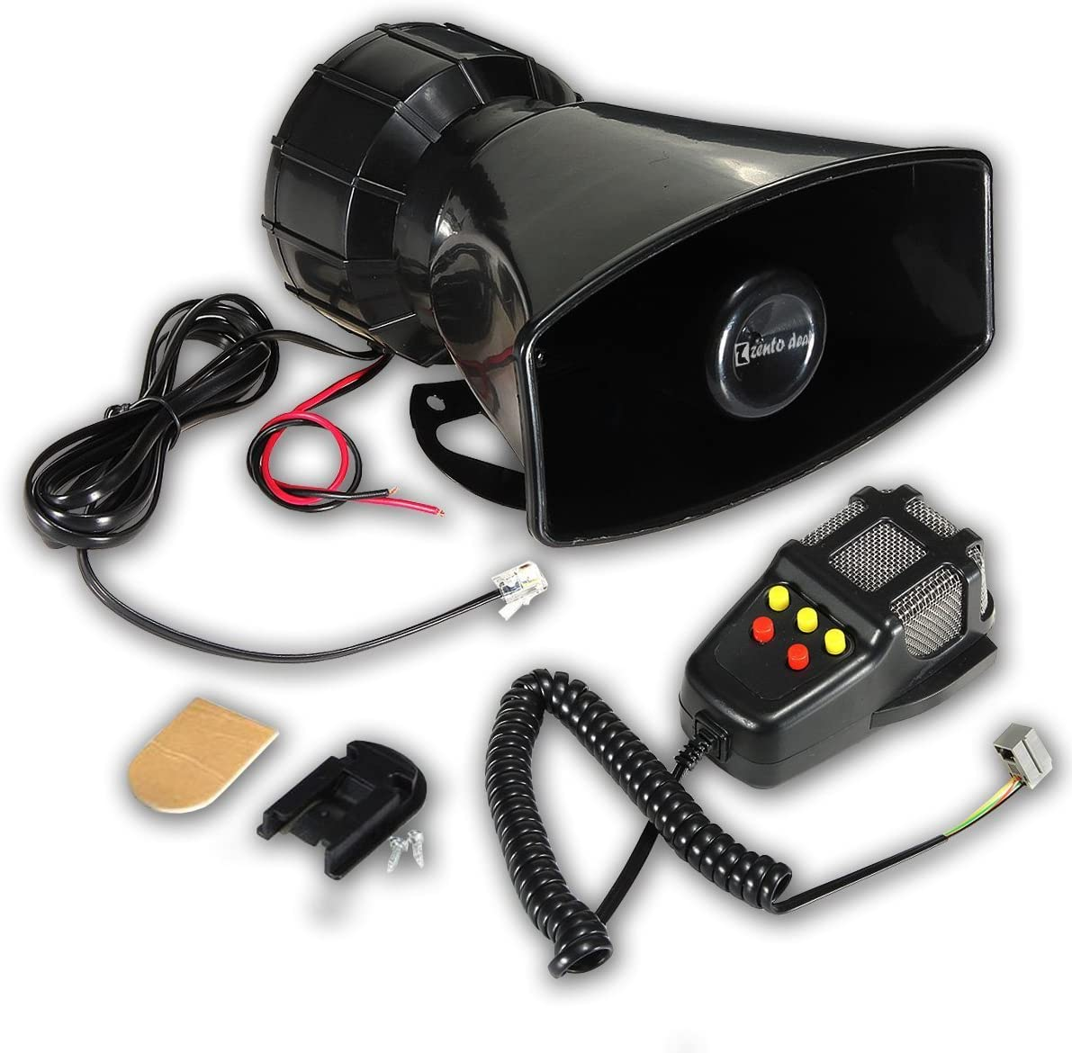 Zento Deals 80W Car Siren Horn Mic PA Speaker System Emergency Sound Amplifier-5 Tones