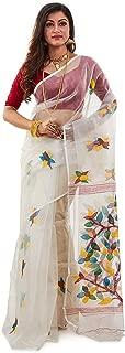 SareesofBengal Women's Handloom Dhakai Muslin Jamdani Silk Saree White