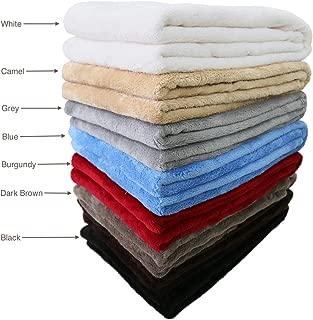 """Townhouse 300 GSM Velvet Fleece Blanket Super Soft Warm Fuzzy Lightweight Bed or Couch Blanket Throw 40""""x60"""",Dark Brown"""