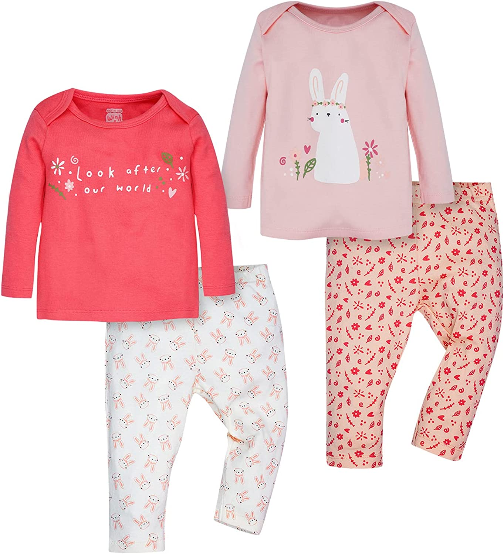 WINK & BLINK Woodland Bunnies Organic Baby Pajamas, 2-Pack Top & Bottom Set, 100% Organic Cotton Baby Clothes