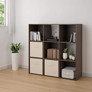 Ameriwood Basics Collection Tally 9 Cube Bookcase in Medium Brown