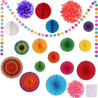 Hestya 30 Pieces Colorful Paper Fans Tissue Flower Honeycomb Balls Paper Pom Poms Rainbow Garland for Party, Birthday and Festival Decorations