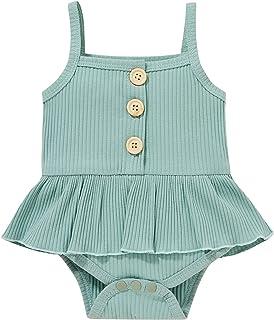 طفل صغير صيف بذلة طفل الفتيات اللون الصامد مضلع شريحة سباغيتتي بلا أكمام رومبير جيبة (Color : Green, Kid Size : 18M)