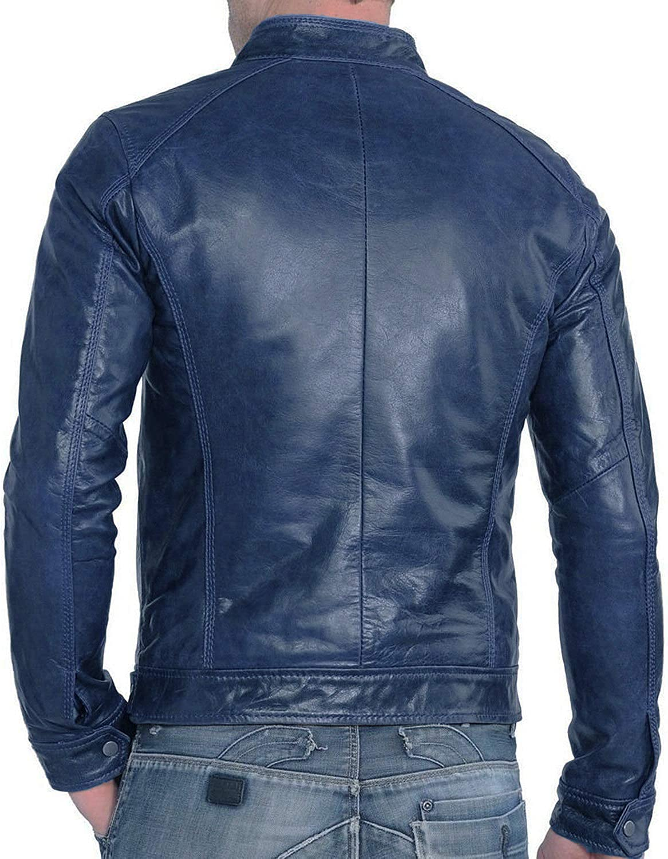 Men's Leather Jacket Motorcycle Bomber Biker Genuine Lambskin Leather 401