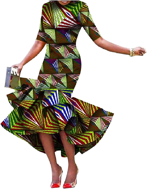 Winme Women PlusSize Slim Fit Back Cotton Falbala African Style Dress
