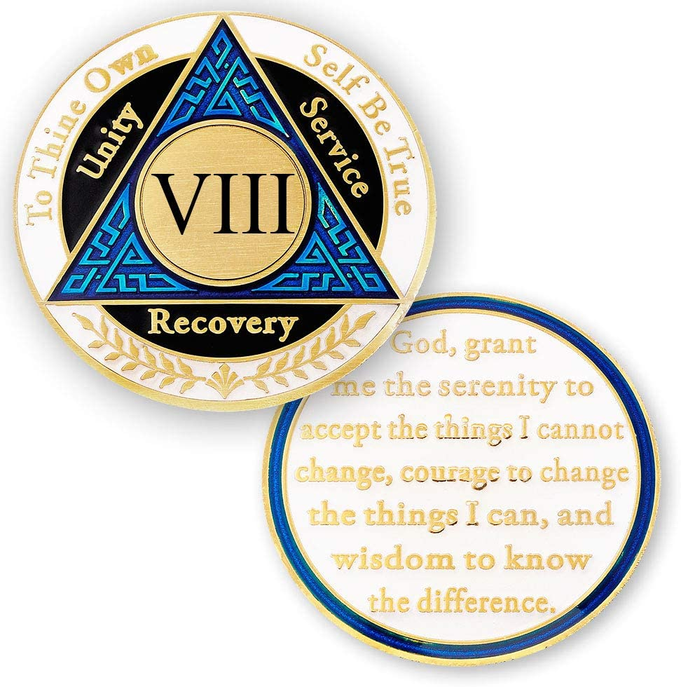 8 Year Popular standard Houston Mall AA Medallions Coin - Alcoholics Eight Chips Anonymous Y