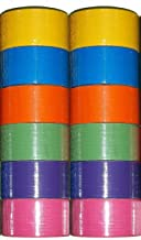 12 Roll Variety Pack Solid Colors (bright colors) of All Purpose Duct Tape. Brights Include: green, blue, orange, purple, yellow and pink. All solid color rolls are 1.89