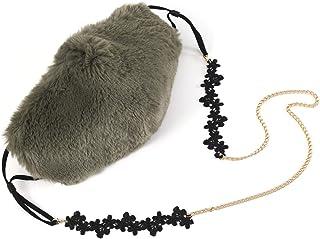 VWMYQ Green Face Mask for Women Fur Cute Reusable Fluffy Fashion Designer Washable Adjustable Cloth Adult Lanyard Breathab...