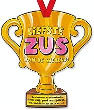 trofee Liefste Zus van de wereld! 33 cm karton goud