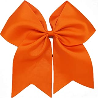 Kenz Laurenz Cheer Bows Orange Cheerleading Softball - Gifts for Girls and Women Team Bow with Ponytail Holder Complete your Cheerleader Outfit Uniform Strong Hair Ties Bands Elastics