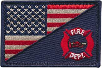 Tactical USA Flag Patch / USA Firefighter Firefighting Department Embroidered Patch