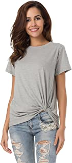 LUSMAY Womens Cotton T-Shirts Casual Short Sleeve Loose Fitting Basic Tee Solid