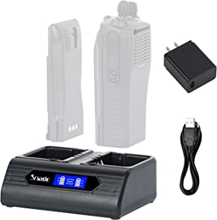 Snado LCD Dual Battery Charger Set Replaced WPLN4137A WPLN4137 WPLN4138 - Compatible with Motorola CP200D, CP200 Series, CP150, PR400, CP040, CP140, CP160 CP180 CP200 EP450 PR400 Walkie Talkies