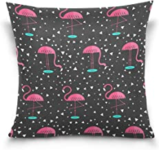"""MASSIKOA Pink Flamingo Decorative Throw Pillow Case Square Cushion Cover 16"""" x 16"""" for Couch, Bed, Sofa or Patio - Only Ca..."""