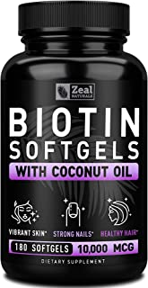 Biotin with Coconut Oil for Hair 10000mcg (180 Softgels) Biotin Supplement - Biotin Pills for Hair Skin and...