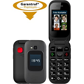 simvalley MOBILE Handy: Notruf-Klapphandy, Garantruf Premium, 2 Displays, Hörgeräte-kompatibel (Klapphandys)