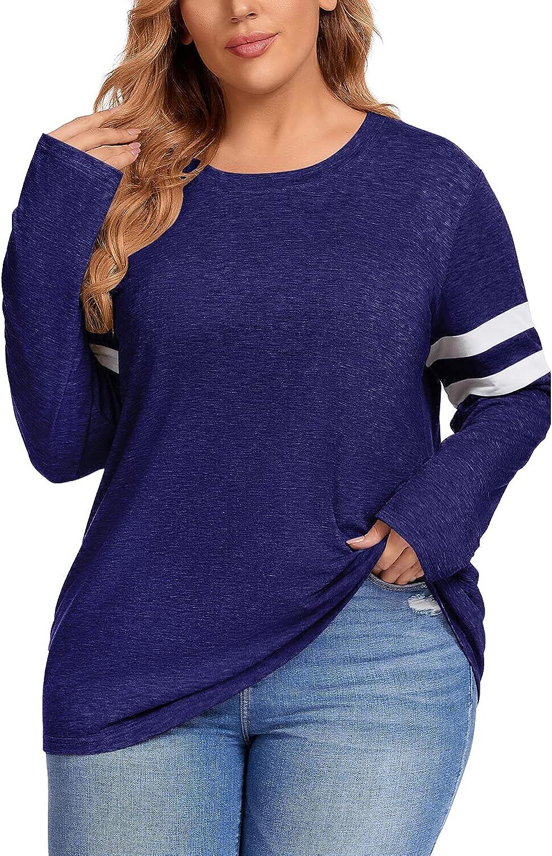 CARROTMOB Women Plus Size Long Sleeve Tops Autumn Tunic Casual Plain Loose Fitting Colorblock Crew Neck T Shirts 1X-5X