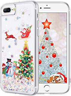 Maxdara iPhone 8 Plus Case iPhone 7 Plus Case Screen Protector Glitter Liquid Protective Bumper Case Floating Bling Sparkle Pretty Fashion Design for Girls Children 5.5 inches (Tree)