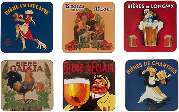 FRENCH VINTAGE COASTER RETRO AD BEERS OF France