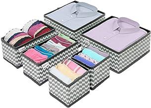 USWAI Set of 6 - Dresser Drawer Organiser Divider, Wardrobe Cupboard Foldable Drawer Organiser, Fabric Storage Closet Boxe...