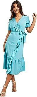 Frill Detail Wrap Around Midi Women's Dress with Self Tie Waist