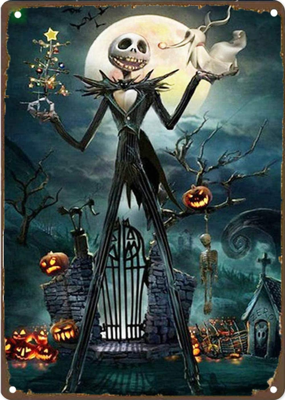 Jack Skellington Tin Sign The Nightmare Before Christmas Sign 8x