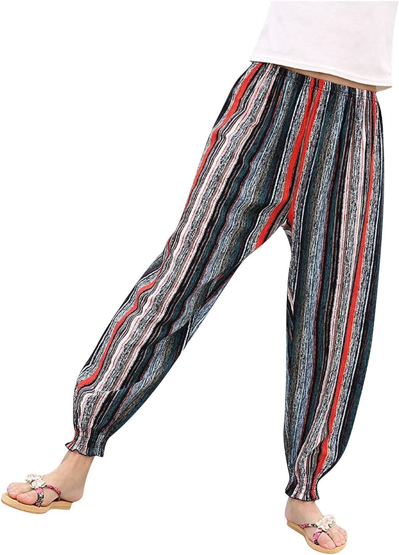 Rubysam Women's Pants Comfy Capri Plus Size Harem Pants with PocketsSummer Casual Palazzo Printed Pants Bohemian Style