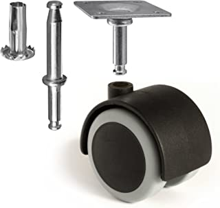 Slipstick CB681 2 Inch Floor Protector Rubber Caster Wheels (Set of 4) 5/16 Inch Stem or Top Plate Mounting Options - Black/Gray