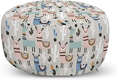 Ambesonne Hipster Ottoman Pouf, Llama Guanaco South American Animals Childish Hand Drawn Style Cartoon Art Print, Decorative Soft Foot Rest with Removable Cover Living Room and Bedroom, Multicolor